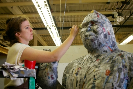 Working on Bigfoot prototype 2012, papier mache over wood, foam, wire and clay armature