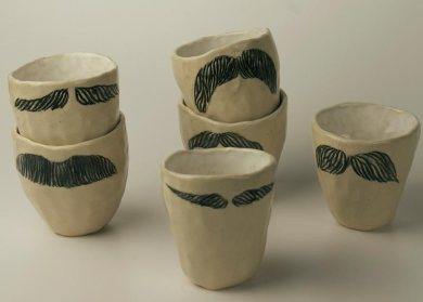 Moustache Cups 2012, ceramic, glaze