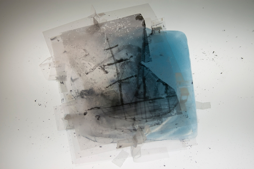 melted, ice, water, ship, blue, tranparency, photo, shadow