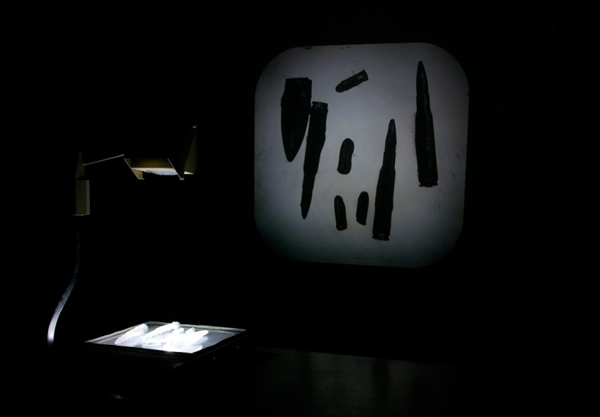knife, bullets, ice, image, overhead projector