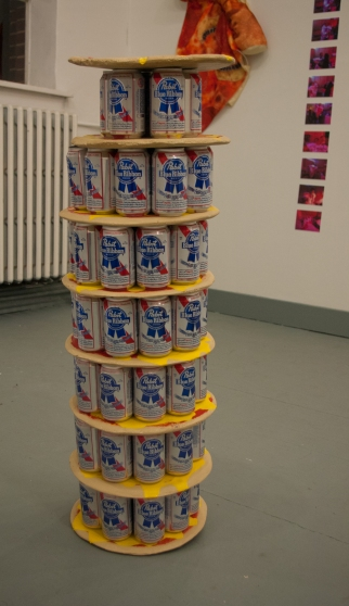 PBR, Beer can art, art, pizza art, pizza, Fuller Space, Devin Balara, Group Exhibition
