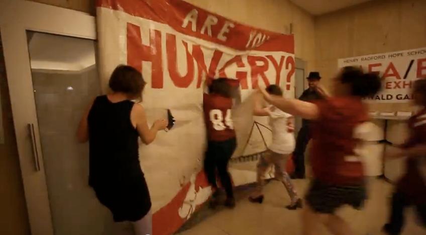 football, hooligans, banner, graduate school, art school, critiques, performance, art