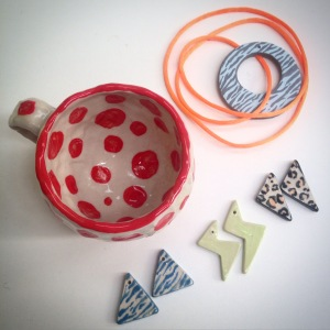 earrings, ceramics, pendant, cup, christmas presents