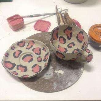 Leopard print ceramic cup and saucer in progress