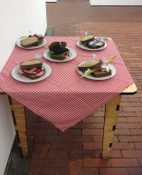 """Collaboration with Brittany Veitch and Rohani Osman: """"Sandwich Club"""" at C3 Gallery for """"Faux Museum"""" exhibition."""