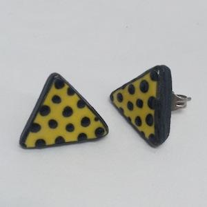 Stud, Earrings, Yellow, black, polka dots, ceramic