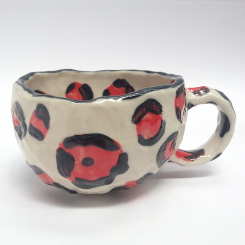 cup, ceramics, red, leopard print, high fashion, motifs, ceramic, clay, teacup