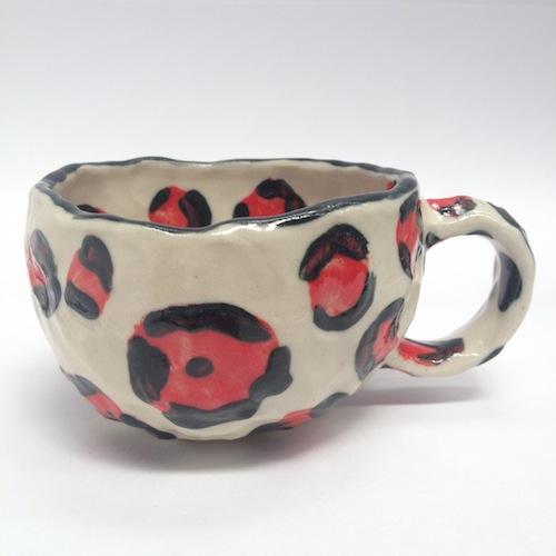 cup, ceramics, red, leopard print, high fashion, motifs, ceramic, clay, teacup