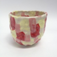 Wine, cup, yellow, pink, red, ceramic, clay
