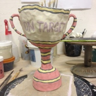 """""""On Target"""" trophy part of a series of trophies examining statements of achievements (in progress)"""