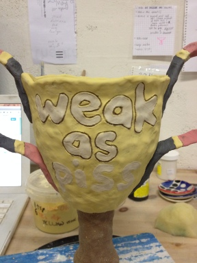 """Weak as Piss"" trophy - part of a series of trophies examining statements of achievements (in progress)"