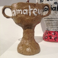 trophy, sculpture, ceramics, football, sports, clay, craft
